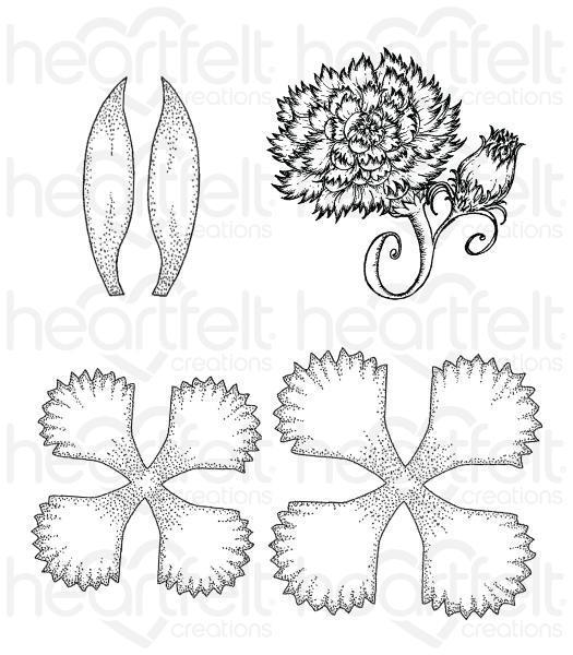 HCPC-3807 : Heartfelt Creations : Camelia Carnation - Large Camelia Carnation Cling Stamp Set