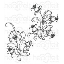 HCPC-3808 : Heartfelt Creations : Camelia Carnation - Fanciful Carnation Cling Stamp Set
