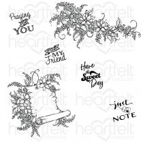 HCPC-3818 : Lush Lilac Collection - Sweet Lilac Scroll & Notes Cling Stamp Set