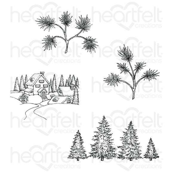 HCPC-3837 - Snowy Pine Village Cling Stamp Set