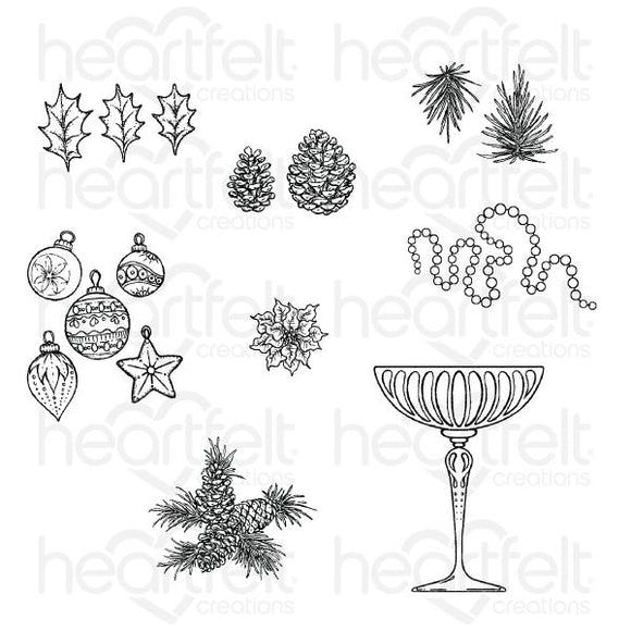 HCPC-3838 - Merry and Bright Accents Cling Stamp Set