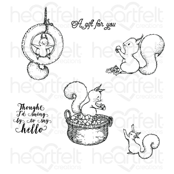 HCPC-3839 - Furry-Tailed Frolic Cling Stamp Set (Oakberry Lane)