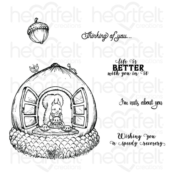 HCPC-3840 - Oakberry Cottage & Sentiments Cling Stamp Set (Oakberry Lane)