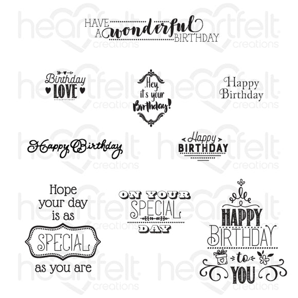 HCPC-3843 : Special Birthday Sentiments Cling Stamp Set