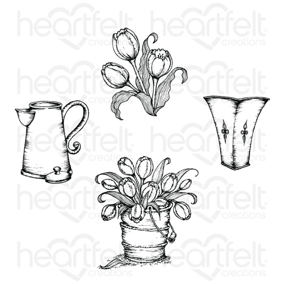 HCPC-3859 : Tulip Bouquet Cling Stamp Set