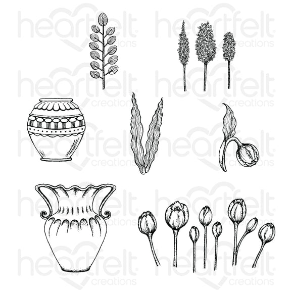 HCPC-3860 : Tulip Vase & Fillers Cling Stamp Set