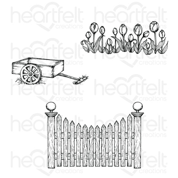 HCPC-3861 : Tulip Cart & Fence Cling Stamp Set