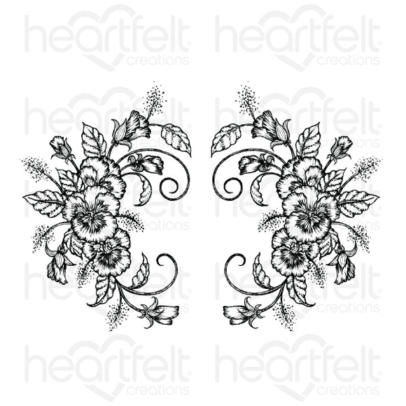 HCPC-3864. - Delicate Pansy Spray Cling Stamp Set