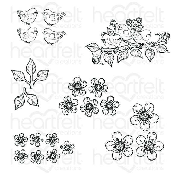 HCPC-3866 - Tweet Cherry Blossoms Cling Stamp Set
