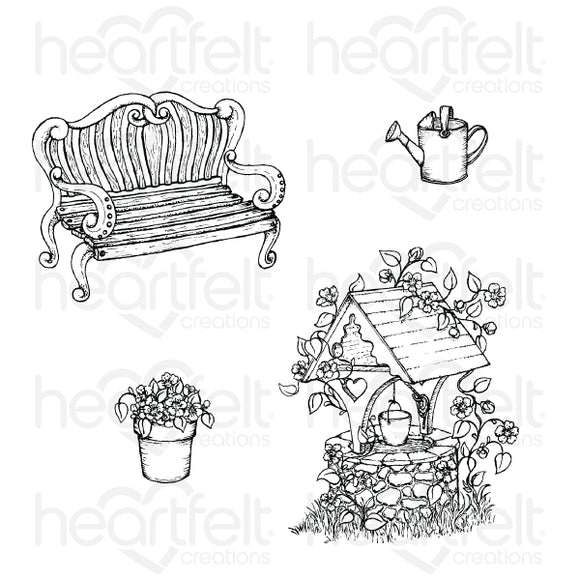 HCPC-3868 - Wishing Well Oasis Cling Stamp Set