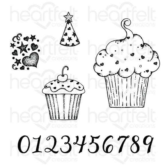 HCPC-3871 : Sprinkled Confetti Cupcakes Cling Stamp Set