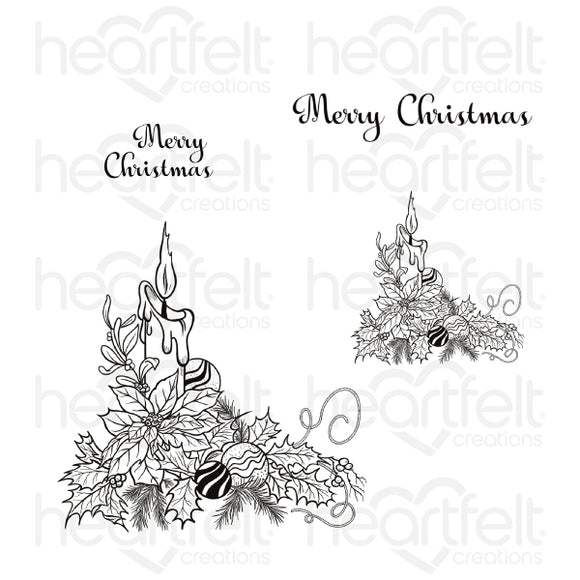 Heartfelt :HCPC-3882 - Candlelit Poinsettia Cling Stamp Set