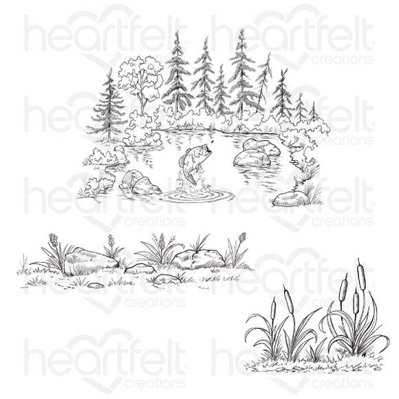 HCPC-3895 - Create a 'scape Trout Lake Cling Stamp Set