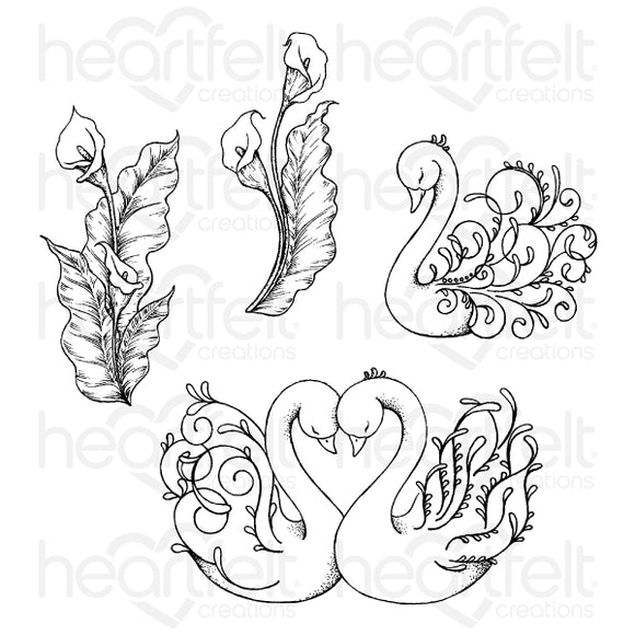 HCPC-3898 : Feathery Swan Cling Stamp Set