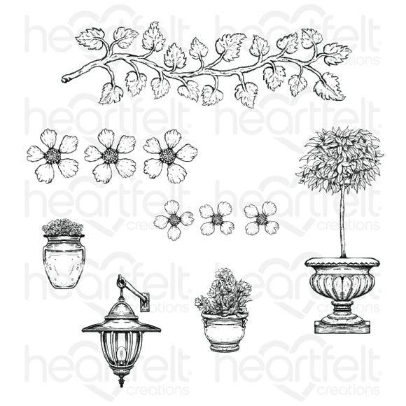 Heartfelt Creations : HCPC-3909 - French Cottage 'scapes Cling Stamp Set