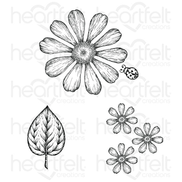 Heartfelt Creations : HCPC-3923 - Large Garden Zinnia Cling Stamp Set