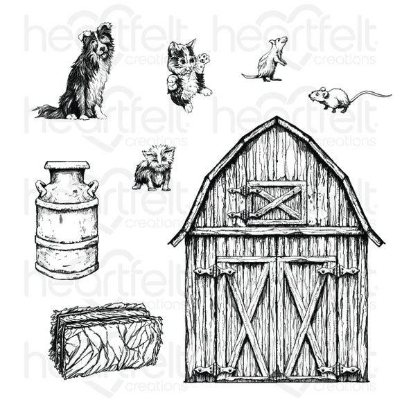 HCPC-3925 : Home on the Farm Cling Stamp Set (Home on the Farm)
