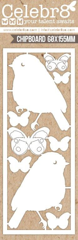 Celebr8 : MB1611 - CHIPBOARD - MINI CARD: BIRDS AND BUTTERFLIES (You are Amazing)