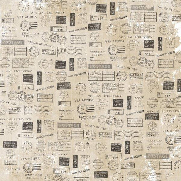 P2513 :  Kaisercraft   : Pen & Ink 12x12 Scrapbook Paper - Stamps