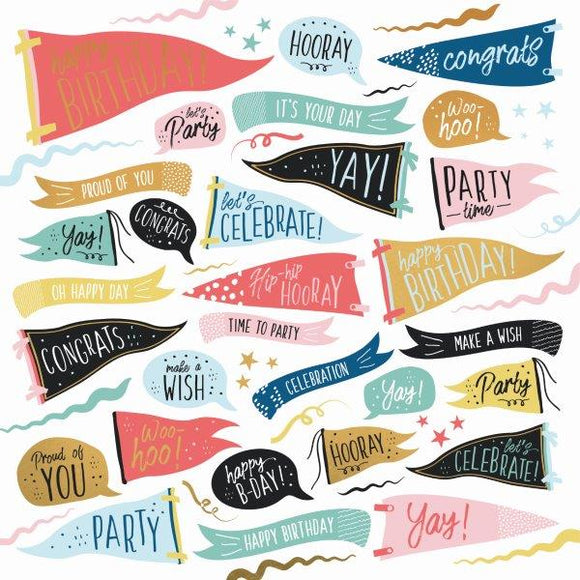 Kaisercraft : P2892 - Oh Happy Day! 12x12 Scrapbook Paper - Time to Party