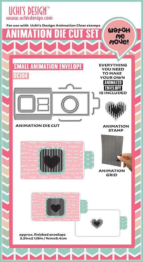 Uchi's Design Animation Die Cuts/ Clear Stamp Combo - DC104 Square Frame Pull Tab Card