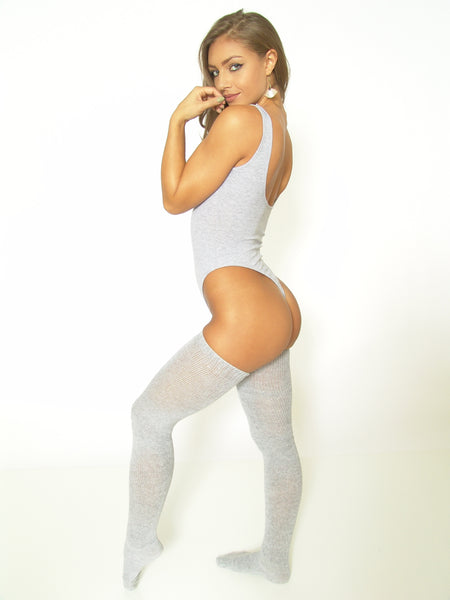 TeeZees Thong Leotard in Gray