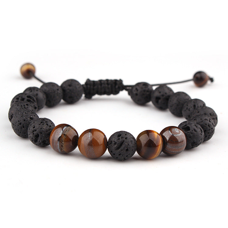 Essential Oil Bracelet - Black Lava  Rock and Brown Gemstone