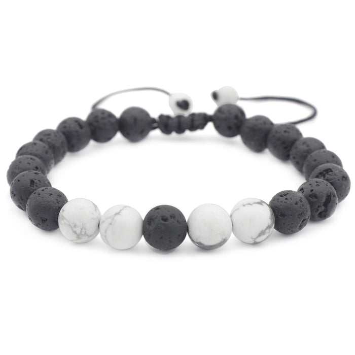 Essential Oil Bracelet - Black Lava  Rock and White Gemstone