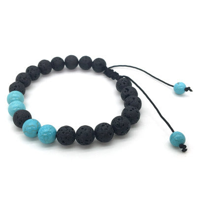 Essential Oil Kids Bracelet - Black Lava  Rock and Turquoise Gemstone