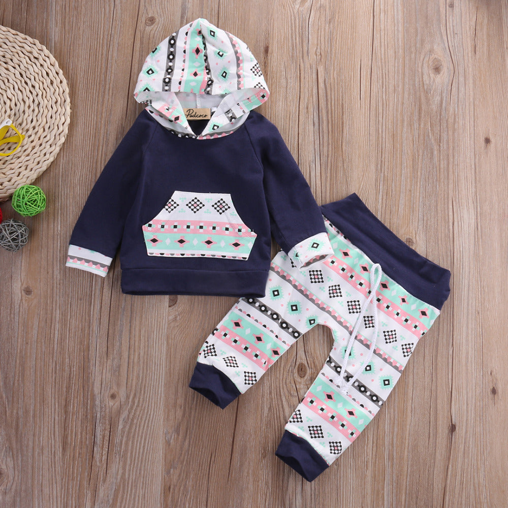 Navy+Patterns Cotton Sweatsuit - Adventure Baby Gear