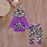 Purple+Floral Cotton Sweatsuit - Adventure Baby Gear