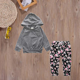 Grey+Floral Cotton Sweatsuit - Adventure Baby Gear