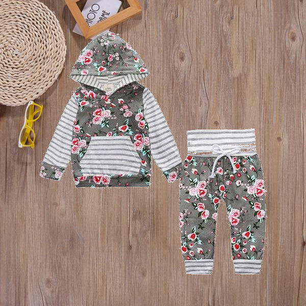 Grey Stripes+ Floral Cotton Sweatsuit - Adventure Baby Gear