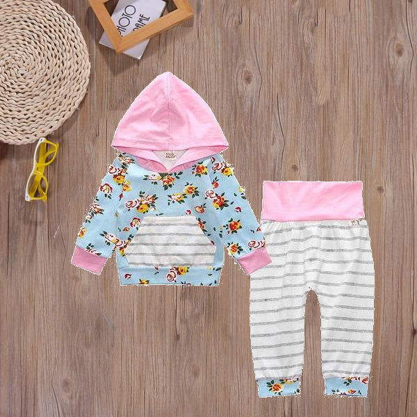 Pink+Floral Cotton Sweatsuit - Adventure Baby Gear