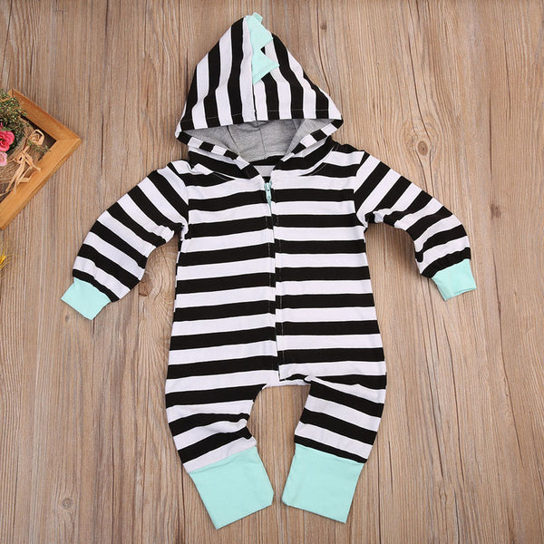 Striped Dino Hooded Jumpsuit - Adventure Baby Gear