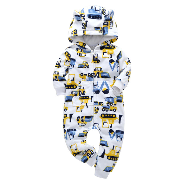 Fleece Lined Hooded Jumpsuit - Adventure Baby Gear