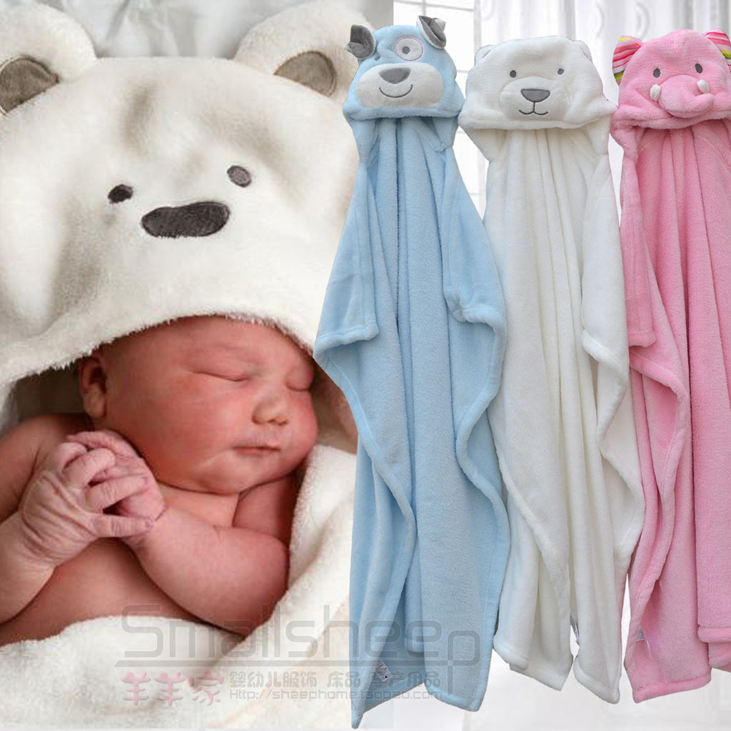 Hooded Animal Fleece Bath Towel - Adventure Baby Gear
