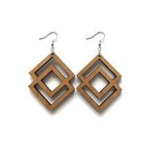 Wood Earrings - Double Diamond