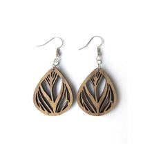 Wood Earrings - Feather Cutout