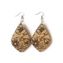Wood Earrings - Floral Teardrop