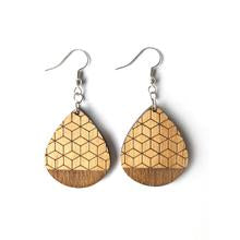 Wood Earrings - Geometric Teardrop