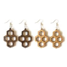 Wood Earrings - Honeycomb
