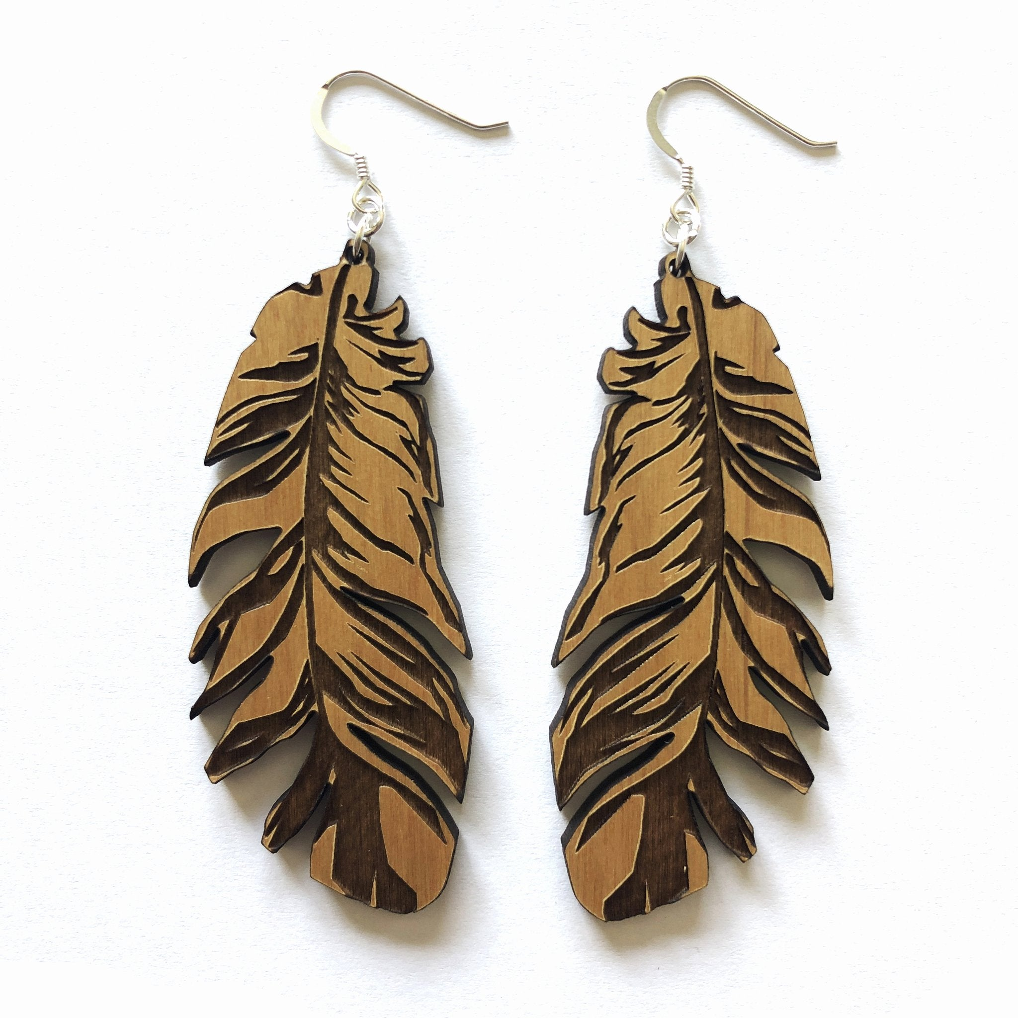 Wood Earrings - Large Feather