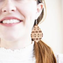 Wood Earrings - Teardrop Engraved