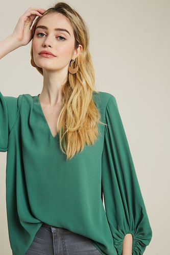 Bardot Balloon Sleeve Blouse - Green