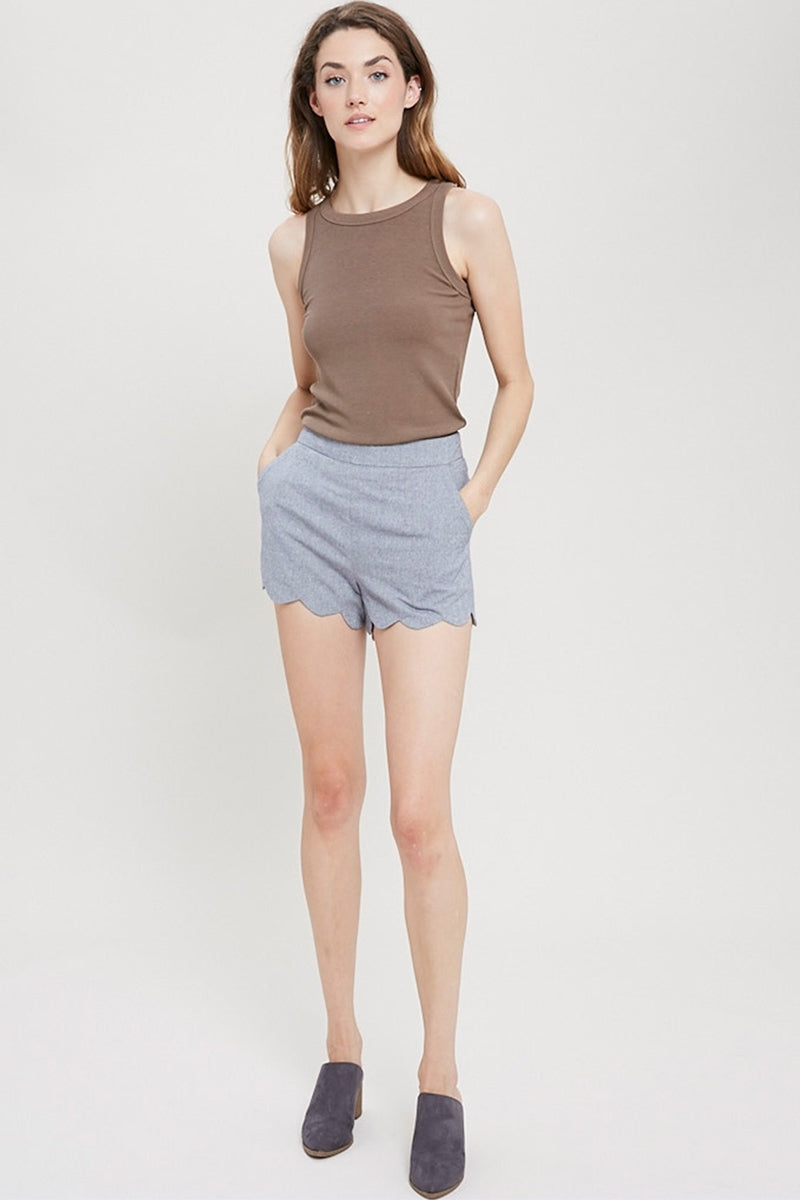 Mara Scalloped Hem Shorts