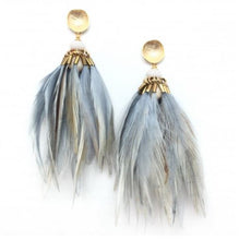 Brinson Feather Earrings - Grey