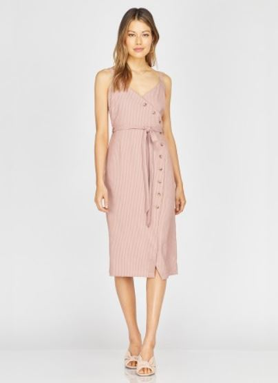 Cleo Striped Button-up Midi Dress