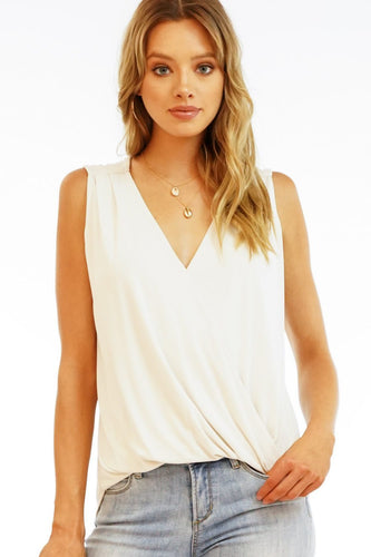 Vanilla Cupro Surplice Top