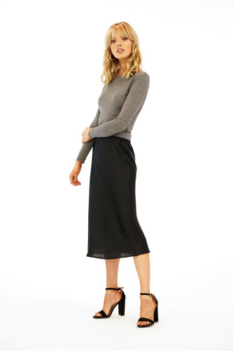 Veronica Black Satin Midi Skirt